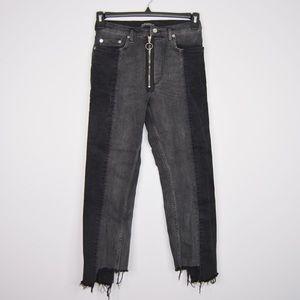 Zara Jeans Two Tone Step Hem Exposed Zipper 2 U